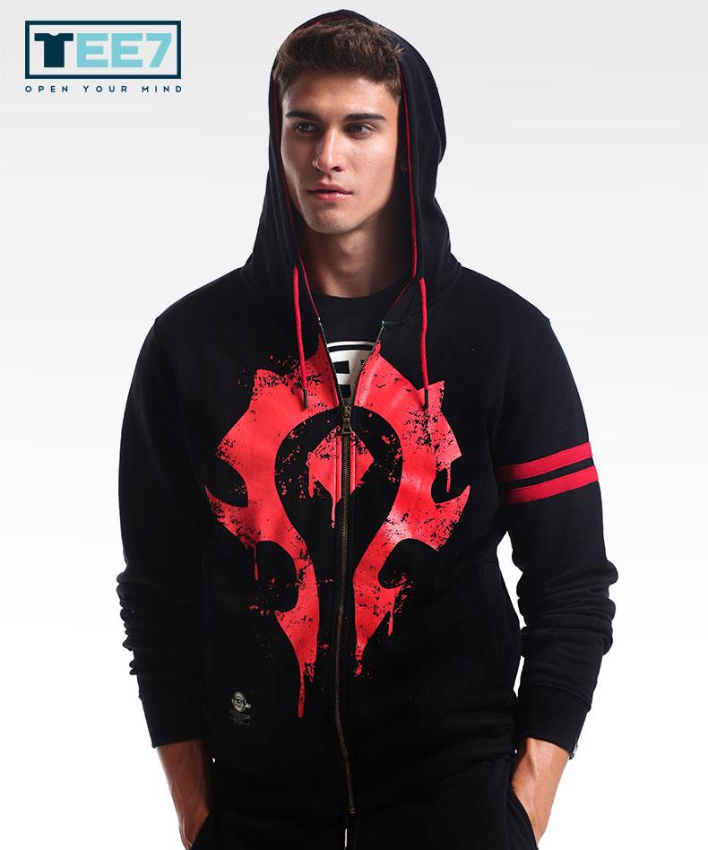 Blizzard WOW Horde Logo Hoodie World of Warcraft Zip Up Sweatshirt for Men