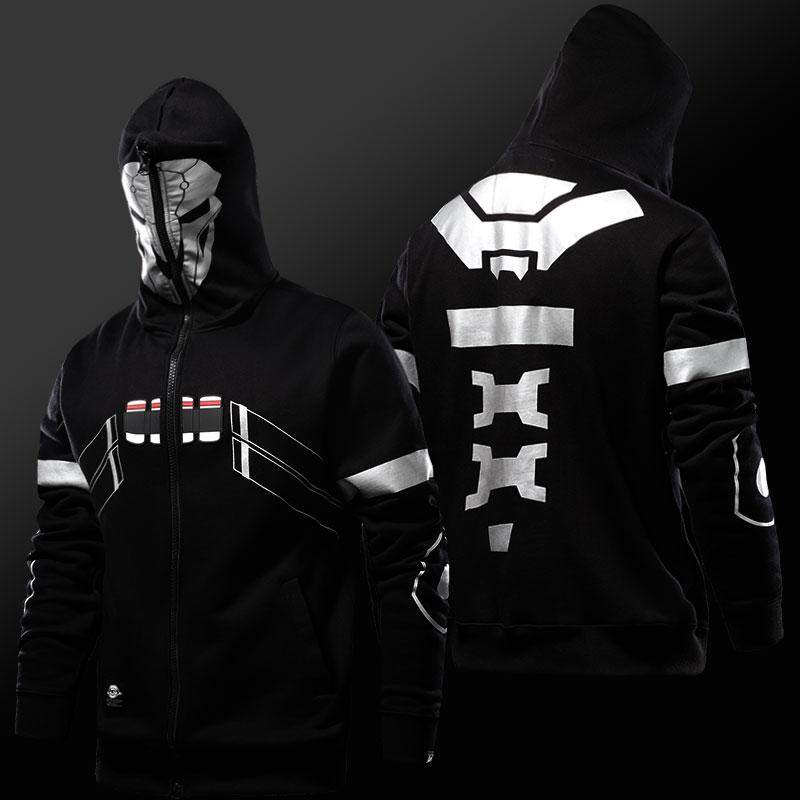 Blizzard Over Watch Reaper Cosplay Hoodie Overwatch Hero Full Zip Sweatshirt