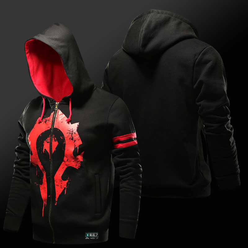 Blizzard WOW Horde Logo Kapuzenpullover World of Warcraft Kapuzen Sweatshirt für Herren