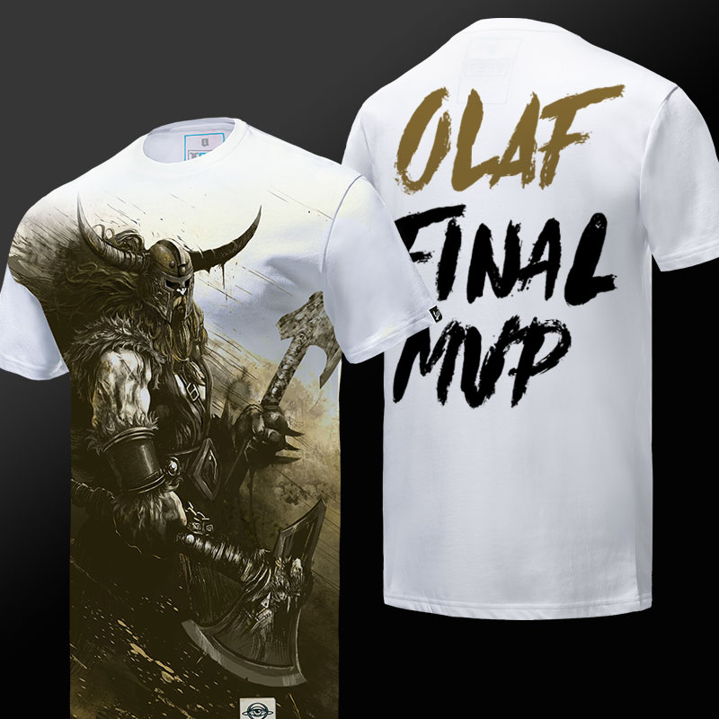 league of legend LOL Olaf T-shirt Men White Tee Shirt