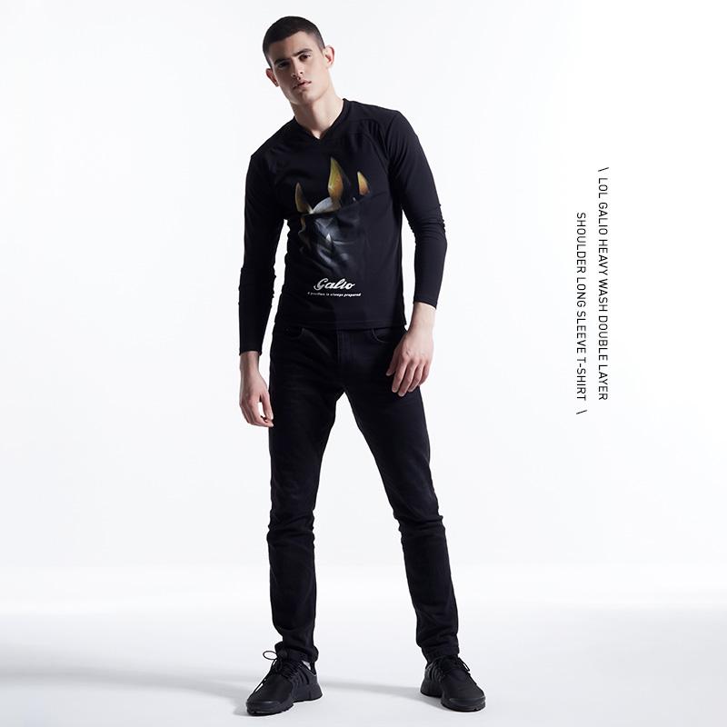LOL Galio T-shirt League Legends Hero Black Long Sleeve Tees