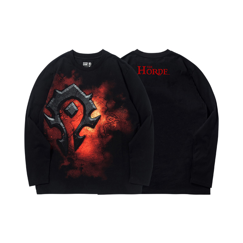 Blizzard WOW Horda Logo T-shirt World of Warcraft Czarny długi rękaw koszulki