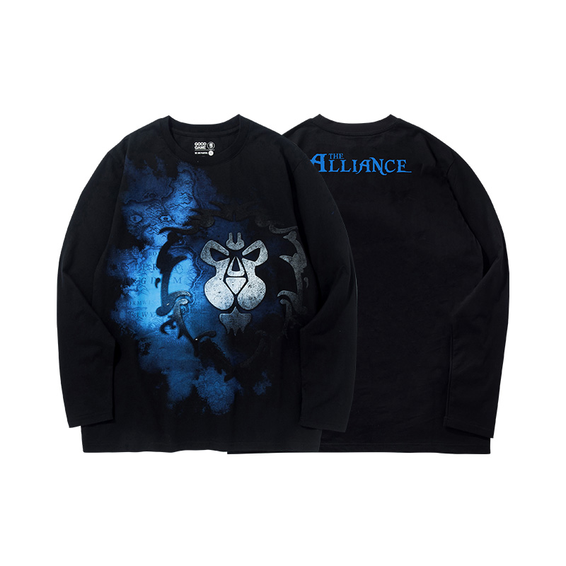 Blizzard WOW Alliance Logo T-shirt World of Warcraft Black Long Sleeve Tees