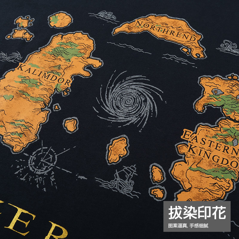 World of Warcraft Azeroth Geography T-shirts Army Green Tees