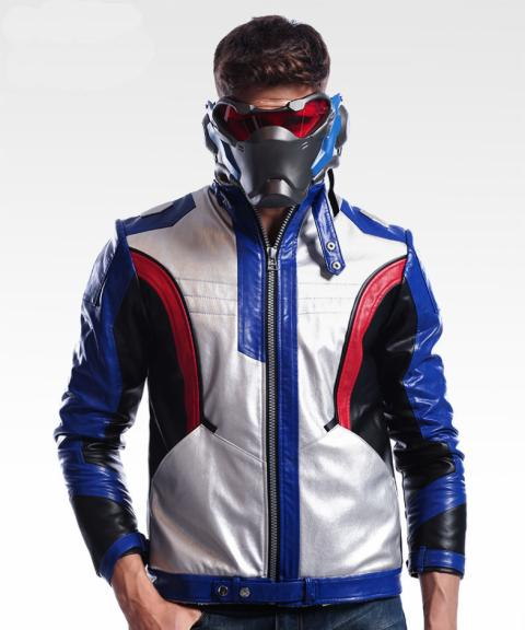 Blizzard Overwatch Soldier 76 Jacket Soldier76 Cosplay Cloth OW Hero PU Leather Coat