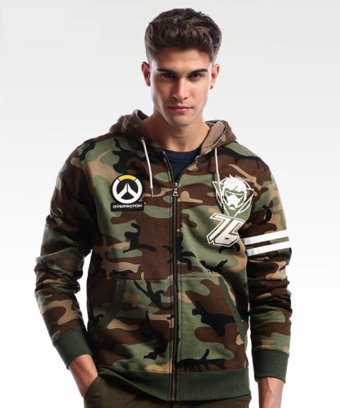 Blizzard Overwatch Soldier 76 Sweatshirt OW Zip Army Green Hoodie