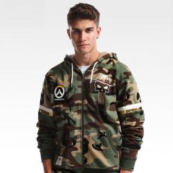 Blizzard Overwatch Mccree Sweatshirt OW Zip Up Army Green Hoodies For Boys Mens