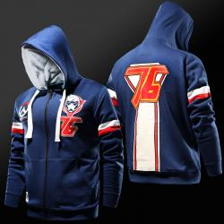Blizzard Overwatch Soldier 76 Hoodie Zip Up Blue Sweatshirt For Mens Boys