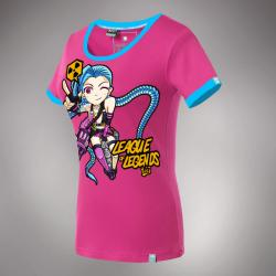 Lovely League of Legends LOL Jinx T-shirt Loose Cannon Hero Tee For Girls