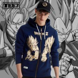 Quality Dragon Ball Son Goku VS Vegeta Hoodie DB Blue Zip Hooded Sweatshirt