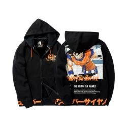 Quality Dragon Ball Son Goku Hoodie DB Super Saiyan Black Zip Hooded Sweatshirt