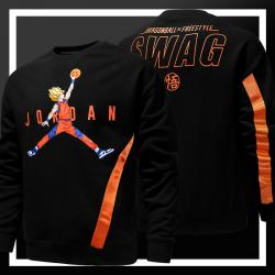 Dragon Ball Poika Goku Jordan Slam Dunk Huppari DB Musta Collegepaita