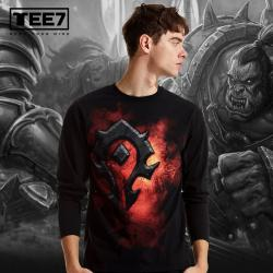 Blizzard WOW Horde Logo T-shirt World of Warcraft Black Long Sleeve Tees