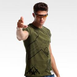 Cool CSGO M4 Design T-shirt Army Green Short Sleeve Tee