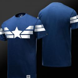 Limited Edition Captain America T-shirt Quality Blue Mens Tee