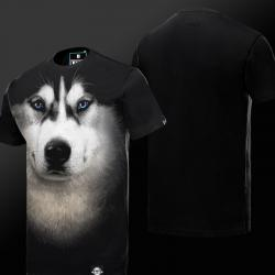 3D Dog T-shirt Black animal Tees For Men
