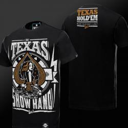Bronzing Printing Quality Texas Hold'em T-shirt Black Mens Tee